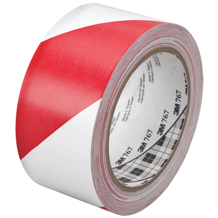 "2"" x 36 yds. Red/White (2 Pack) 3M<span class='tm'>™</span> 767 Striped Vinyl Tape"